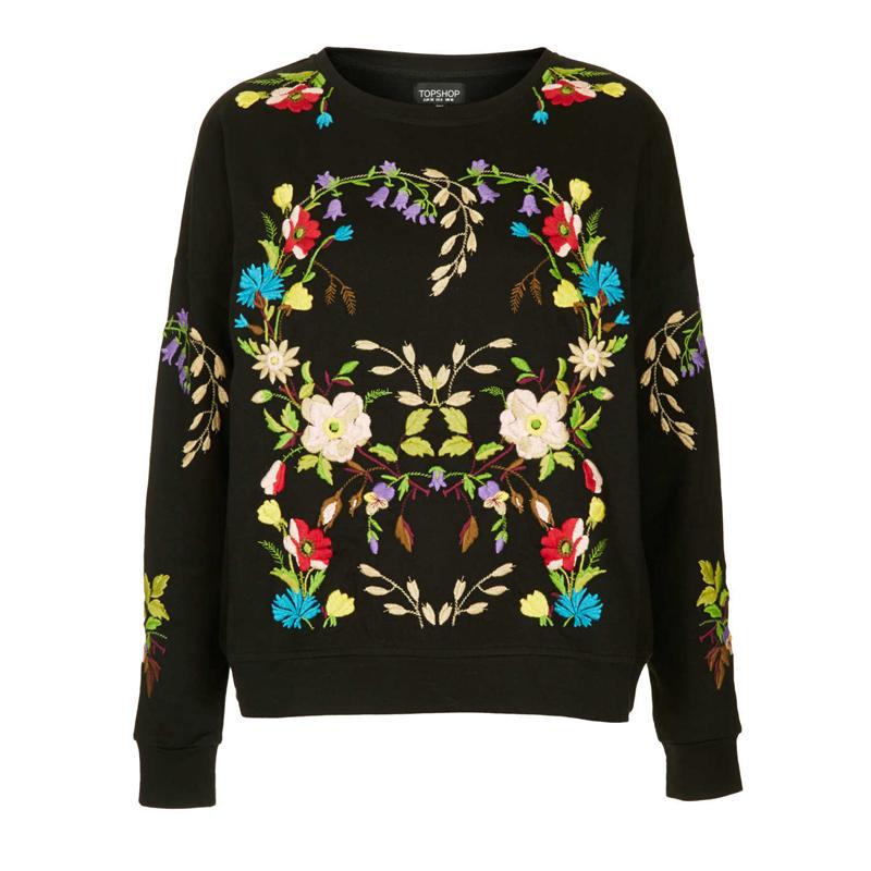 Новая осень/зима 2014 Европе и нежной цветочной вышивкой утолщенной черный бархат вышитые свитер женской одежды