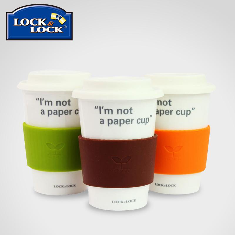 樂扣樂扣健康陶瓷杯水杯簡約 杯馬克杯子帶蓋牛奶咖啡杯370ml