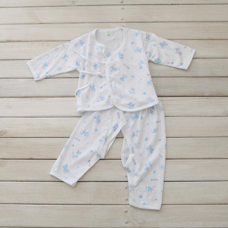 百合花夏季新款纯棉汗布超薄柔软新生儿婴儿内衣斜襟系带衫裤