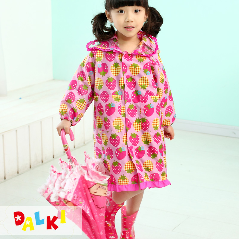 Childrens raincoat girls poncho with storage bag schoolbag students school rain gear lovely strawberry printing without peculiar smell