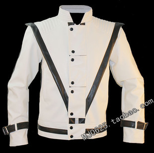 MJ Michael Jackson classic Thriller usual retro white jacket casual jacket Slim turn heads