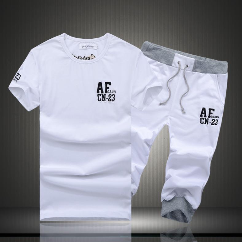 Мужские тренажерный зал одежду мальчиков летняя одежда рубашка брюки фитнес одежда Мужские костюмы, работает в летнее время Kit