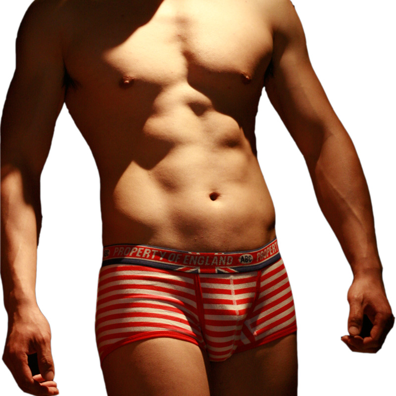 浪漫风水兵性感内裤 ABC海军条纹男士内裤 中腰平角条纹纯棉内裤