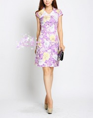 Bloom on the other side ~ Golden floral cheongsam dress with short sleeves v-neck flower classical temperament 907
