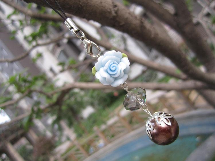 毛蛋妈手工 原创韩版饰品2012新款水晶珍珠软陶 挂件手机链钥匙扣