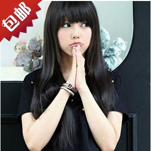 Female realistic long straight hair wig Liu Qi long hair wig Korean temperament lovely natural whole long straight hair