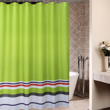 Ji pass fruit green stripe at the bottom of the European standard grade 4 waterproof mouldproof polyester cloth bathroom shower curtain lead wire c hooks
