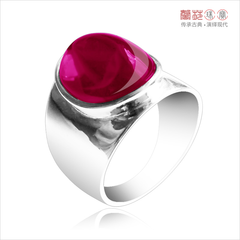 Natural Crystal 925 Silver Ruby Ring mens and womens domineering red corundum index ring individual ring trendsetter