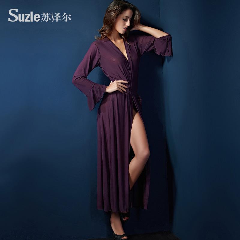 Suzle/suzle осень искушение Сексуальное белье Сексуальное белье дамы тонкий длинный сплошного Халат Халат