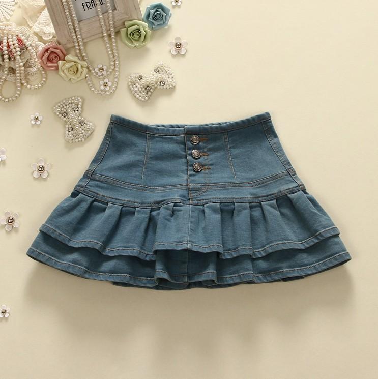 Large denim Ruffle Skirt with buttocks skirt with auricle edge layer by layer cake skirt shawl skirt mini skirt high waist trouser skirt