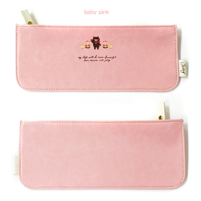 韩国进口JETOY Hello JOOZOO pencil case 皮革笔袋-baby ping