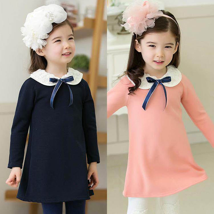 Длинным рукавом платье девушки дети картриджа 2015 весна новая Корейская торговая принцессы юбка платье 2-7
