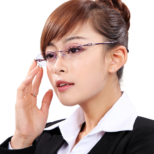 Korean female ultralight rimless glasses finished diamond trimming frame myopia glasses contain lenses XC6011