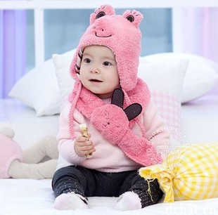 Children accessories factory 2014 new winter scarves rabbit frog hat Children warm suits 4 color
