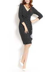 Poland Avenue ~ United States brand counters v-neck sexy slim black white slim fit long sleeve OL dress dresses
