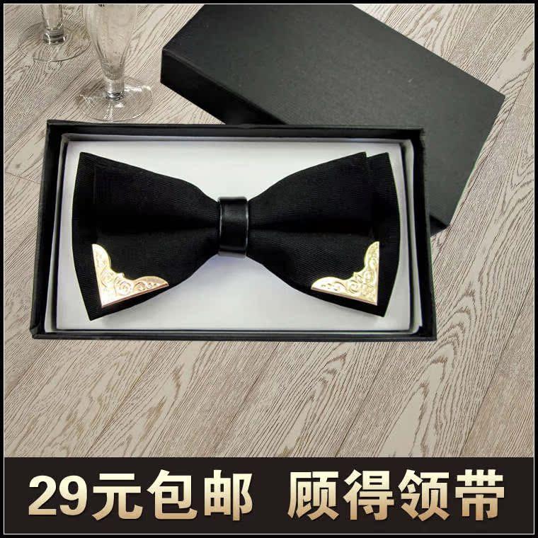 Индекс в браке мужчины ретро благородный металл угол галстук галстук галстук-бабочку мужской черный заклепки