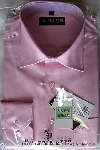 U.S.POLOパウロアメリカンポロ協会の専門売り場です。本物の男性ピンクの綿100%の無パーマ長袖シャツです。