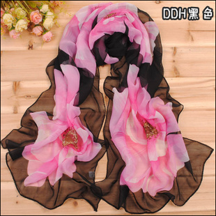 2014 Korean version of the new spring and summer chiffon scarves neat feminine large flowers in spring and summer long section of wholesale scarves