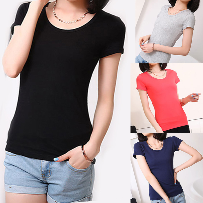 Spring and summer new clothes fattening plus size womens short sleeve cotton T-shirt womens half sleeve top