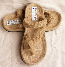 Thailand import manual cloth slippers hand woven straw sandals Package mail ICONS necessary Male # 33 kind of hemp color