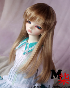 M7 BJD doll wig 1 8 1 6 1 3 1 4 points imitation milk brown mohair princess with long straight hair lati