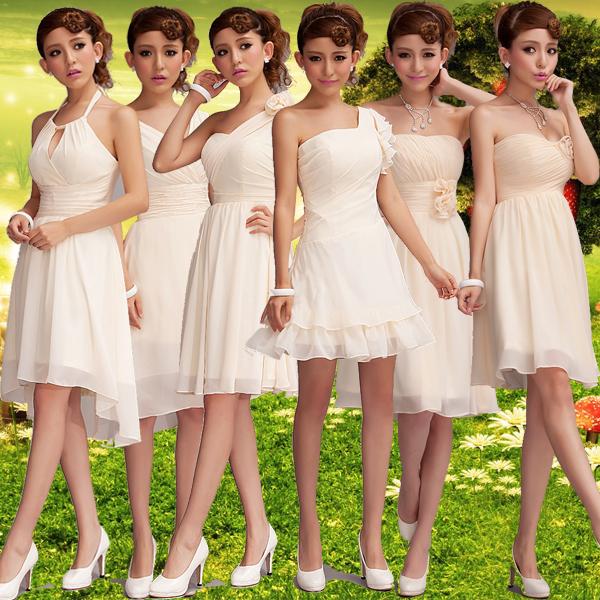 Подружки невесты невесты короткие розового шампанского для вечерних шоу маленькое платье 2015 зима новый стиль