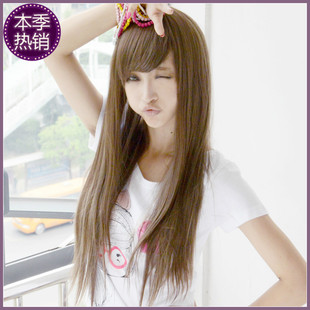 Anna Luo new long straight oblique bangs fluffy chestnut color wig streaked blond hair volume 4566