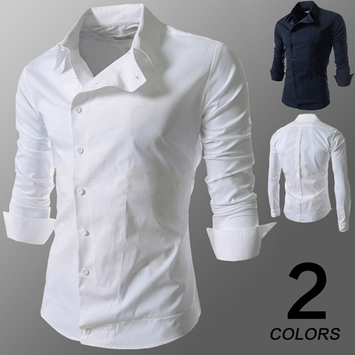 春秋装男式韩版休闲衬衣斜扣个性潮流长袖衬衫man fashion shirt