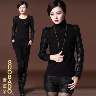 high fashion wild cotton sleeve shirt female sheep skin leather sleeve sweater sleeve sweater