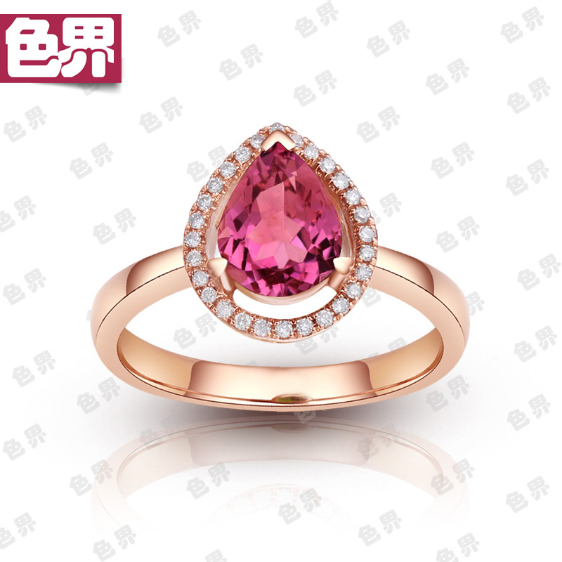 Color world natural tourmaline Ring 18k rose gold ring with diamond red color gem ring