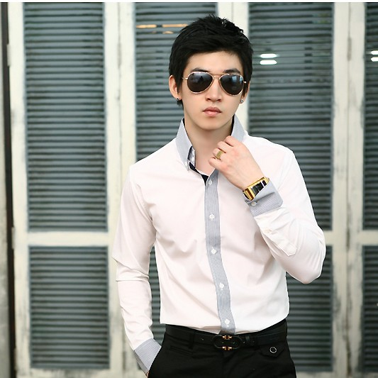 Korean authentic official website 2021 autumn and winter handsome stripe pattern stitching slim fit mens business long sleeve shirt