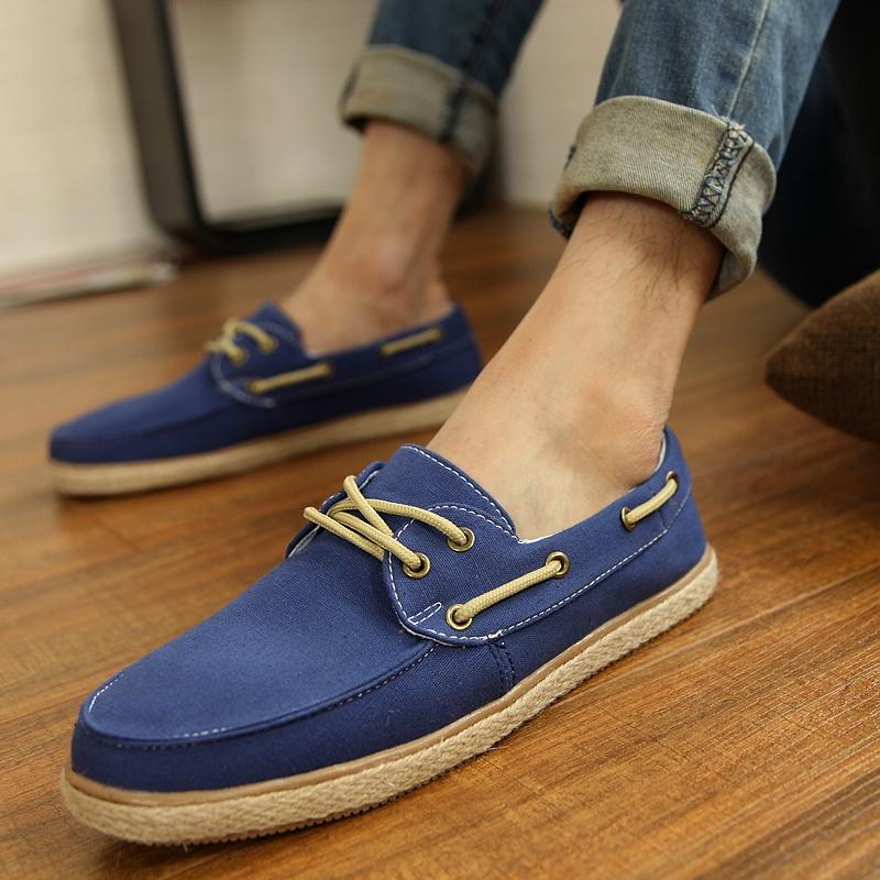 Конец тенденции моды соломенных мужчин Холст обувь с Korean Air лодка обувь Лин изогнутые ленивый отдых