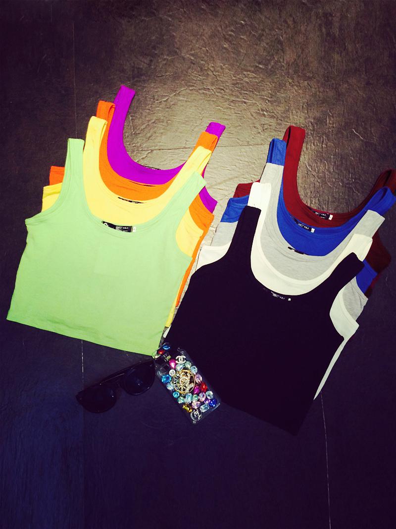Хорошее лето стрейч универсальный твердый цвет короткими движениями-жилет ремень базы без рукавов футболки женщина рубашки