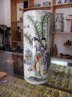 古玩古董老瓷器古瓷收藏民国制瓷名家徐万顺作美色清华仕女帽筒