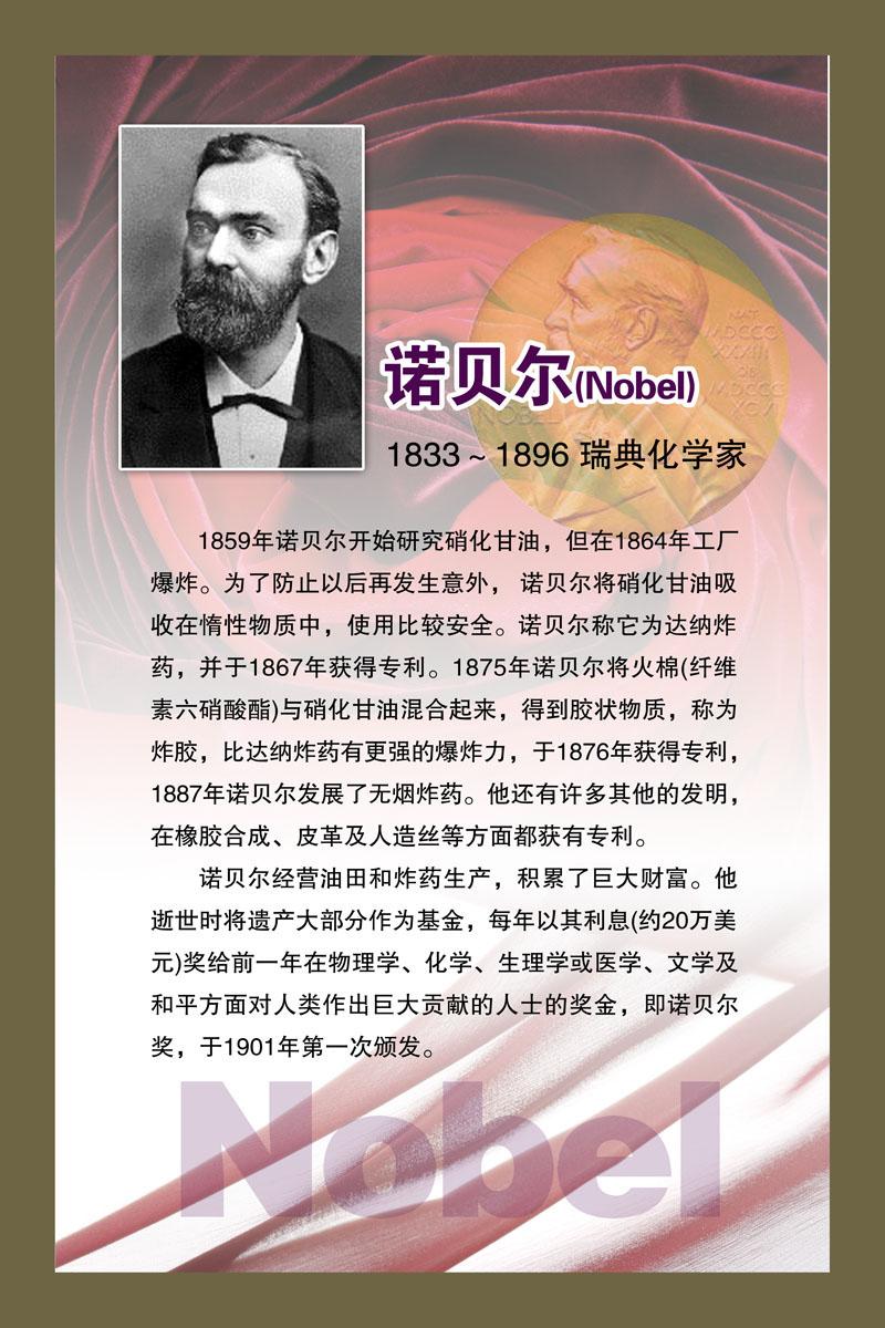 海报展板卓画家居饰品G93/82名人名言版面瑞典化学家诺贝尔印制