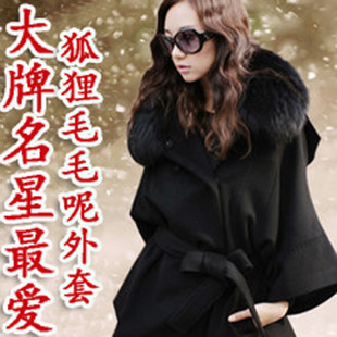 Women s autumn and winter black fur cape fox fur collar cashmere coat female woolen coat jacket