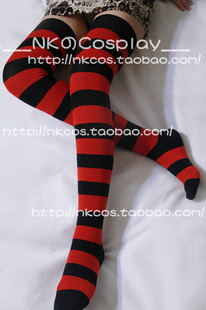___NK Cosplay absolute field Kagura Yoshihara socks wide red and black striped knee socks hold ups