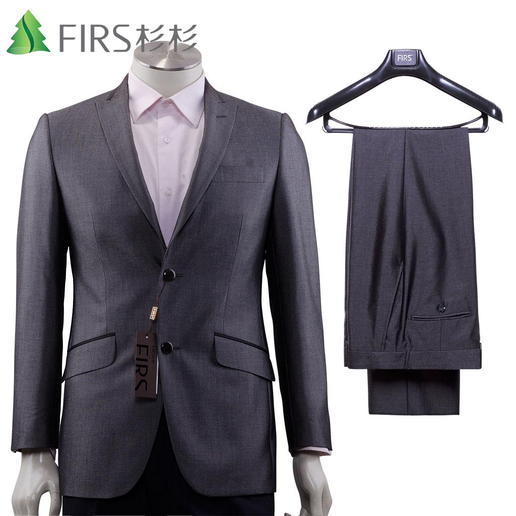 Firs/杉杉 两粒单排扣修身韩版银黑色时尚都市纯色西服套装正品