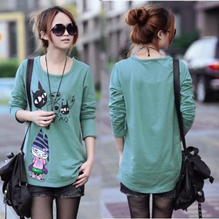 2014 spring new large size women fat mm spring Slim thin loose long sleeved t shirt women bottoming shirt