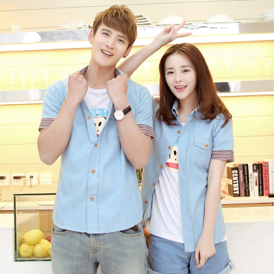 00738b7d67a Summer wear new metersbonwe couple shirt female authentic tide men s  clothing mainly made of pure cotton denim shirts with short sleeves