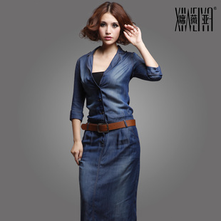 Xi Weiya 2015 Hitz denim skirt Tencel denim jumpsuit denim skirt dress women Slim