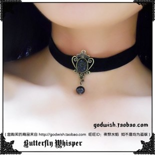 Dark Angel full of Gothic Lolita Simple retro diamond stars Velvet ribbon necklace Neckwear