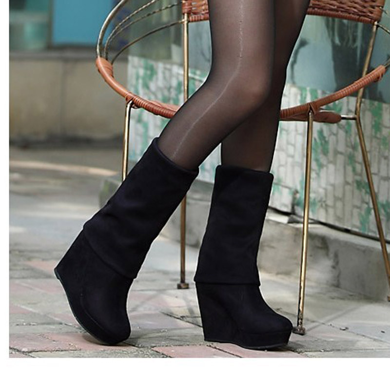 Slim matte slope heel over knee thick heel boots womens middle tube French 2021 autumn and winter short boots high heel elastic tube boots