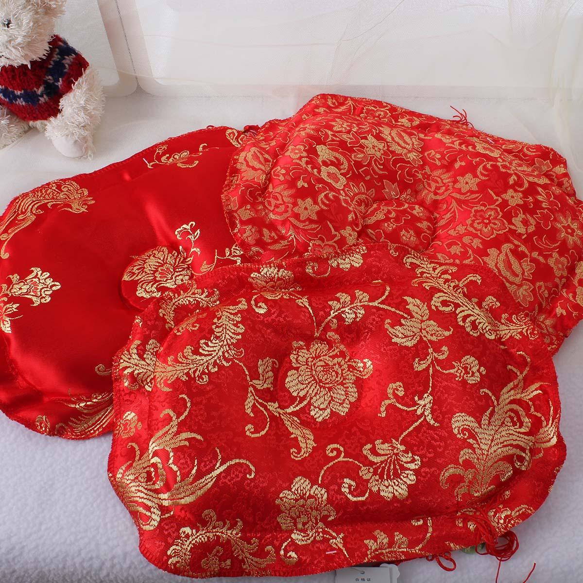 婴儿蚕沙枕头宝宝大红蚕沙定型枕婴儿枕头蚕砂枕新生儿缎面定型枕