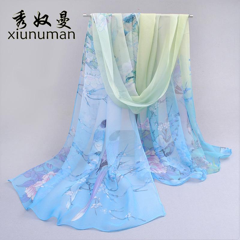 Шелковые шарфы долго весной и осенью двойного использования солнцезащитный крем дамы шифон шарфы шали зима Корея дикий шарф Корея осенью и зимой
