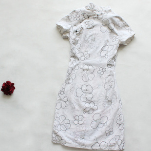 The new Chinese cheongsam dress modified cotton daily summer fashion summer vintage short paragraph cheongsam linen