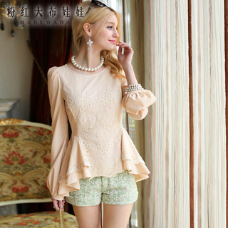 Shirt women long sleeves Pink doll summer 2015 new shirts Korean wave beige embroidery xsy