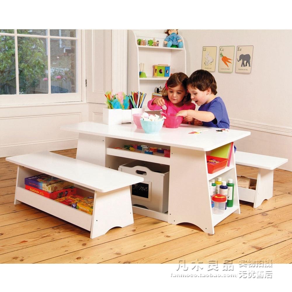 Оригинальный сингл выход ребенок мебель игрушка стол дерево хранение i игра стол 1 стол 2 стул полоса табуретка белый