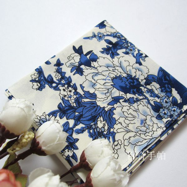 Genuine super soft wind womens cotton handkerchief cotton silk handkerchief sunscreen towel square towel blue and white porcelain Peony