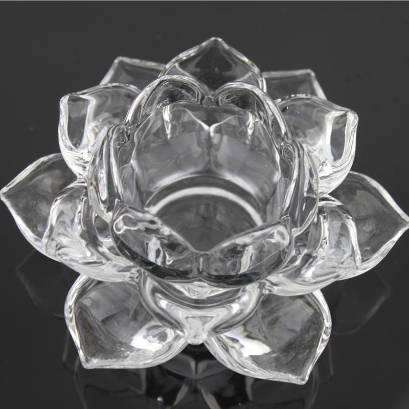 Прозрачный кристалл стекло цвет лотос подсвечник свеча тайвань для будда свет лотос свет домой аксессуары ремесла украшение